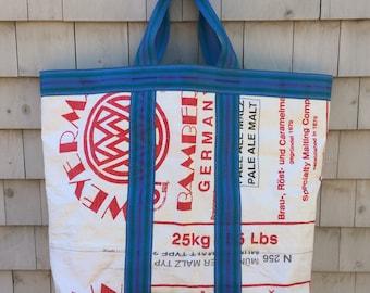 Recycled Weyermann Grain Bag Tote, Laundry Bag, Storage Bag, Toy Bag, Beach Bag, handmade in Maine