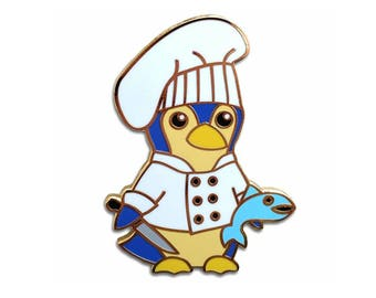 Enamel Pin - Cute Penguin Chef with Chef's Hat, Kitchen Knife and Fish
