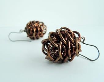 Pine cone earrings,Chainmaille earrings,Anodized Aluminum earrings,Hypoallergenic earrings,Bronze aluminum earrings,Woodland earrings