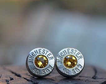 Bullet Earrings stud or post, Winchester .40 S&W with Swarovski crystals