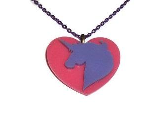 Kawaii Unicorn Necklace, Cute Candy Pink Heart Pendant, Pastel Lavender Unicorn, Fairy Kei