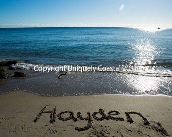 Name in Sand, Baby Girl Gift, Personalized Artwork, Beach, Nursery Decor - Hayden