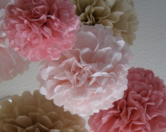 20 Tissue Paper Pom Poms - Your Color Choice - Sale - Vinatge Wedding Decoration - Shabby Chic Decor