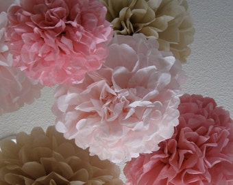 12 Tissue Paper Pom Poms - Rustic Wedding decorations - Your Color Choice - Sale