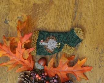 Turkey Hand-Knit Christmas Stocking Ornament - Thanksgiving Turkey