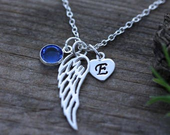 Angel Wing Necklace, Sterling Silver Angel Wing on sterling silver chain, 2 Custom charms Included, Friend, mother, sister, teachers gift