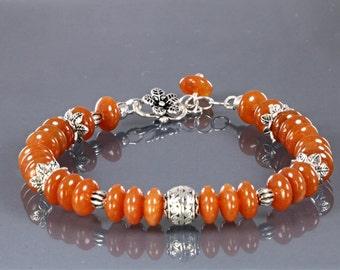 Red Aventurine Beaded Bracelet, Thai Sterling Silver Bead Bracelet, Red Silver Bead Bracelet