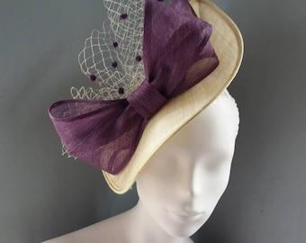 Dark Ivory an Purple Saucer Hat Royal Ascot Wedding