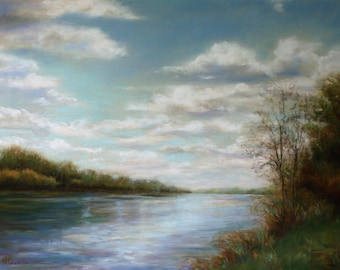 Original Pastel Painting Fine Art Clouds Over the Missouri River