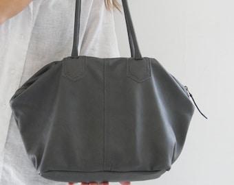 Shoulder Handbag, Grey Leather Bag, Medium Shoulder Bag, Gift for Mom, Leather Gifts, Slouch Bag, Grey Purse, Shoulder Tote Bag, Gift Ideas