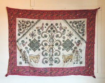 Vintage Rabari Wall Hanging Tapestry India Antique 1950s