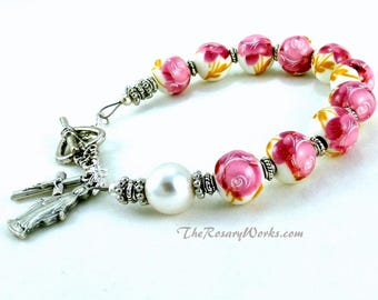 Our Lady of Grace Rosary Bracelet Chaplet Pink Rose Peonie Miraculous Medal Single Decade Sacred Heart Good Shepherd Holy Family Spirit