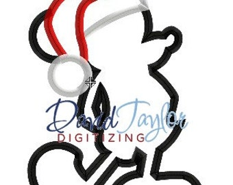 Mickey Mouse Santa Silhouette - Embroidery Machine Design - Applique - Instant Download - David Taylor Digitizing