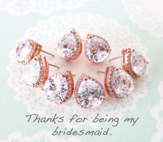 Rose Gold Luxe Cubic Zirconia Teardrop Ear stud, wedding bridal earrings, bridal bridesmaid gifts, ear post stud, pink gold weddings, Jarita