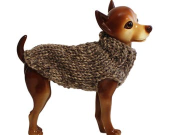 Hand Knit Dog Sweater- Sand Stone