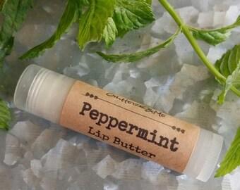 PEPPERMINT LIP BUTTER, peppermint lip balm, mint lip butter, candy cane lip balm, natural lip butter, 15oz