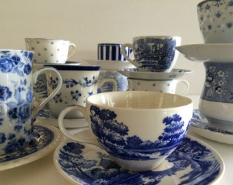 Tea Cups Mismatched Blue & White! -Floral Stripe Toile -Indigo/Cobalt/ French Blues! - 100 Available - Wedding Shower Cottage Decor