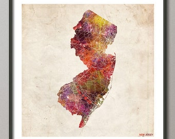 NEW JERSEY Map, Map of New Jersey, State, Watercolor painting, Poster, Modern Abstract, Poster Print, Wall Art, Home Decor, Decoration
