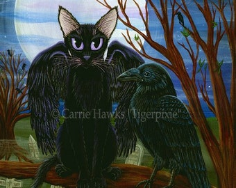 Black Cat Raven Art Cat Painting Moon Black Crow Gothic Cemetery Fantasy Cat Art Limited Edition 11x14 Canvas Print Cat Lovers Art