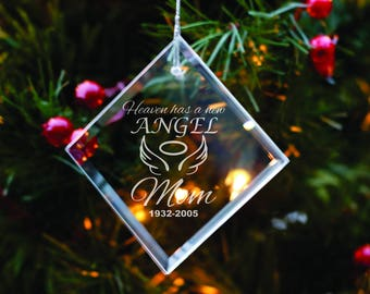 Personalized Glass Ornament - In Memory of Mom - Christmas Decoration - Xmas Tree Decor - Memorial Gift - Sympathy Gift - In Memory of Dad