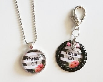 Planner Girl or Planner Mama Necklace or Keychain, Planner Girl Jewelry, Planner Mama Jewelry, Planner Girl Accessories, Piccadilly Charms