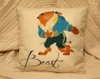 princess belle beauty and the beast water colour  inspired cushion cover 45 by 45 cm beautiful gift