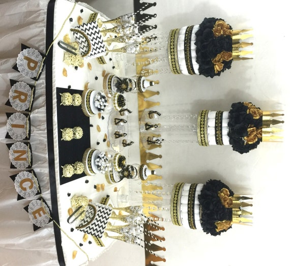Baby Shower Themes Gold ~ Black and gold baby shower candy buffet centerpiece with