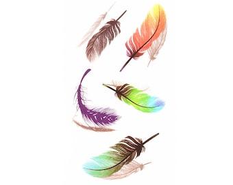 2pc feather print temporary tattoo sticker-10512x2
