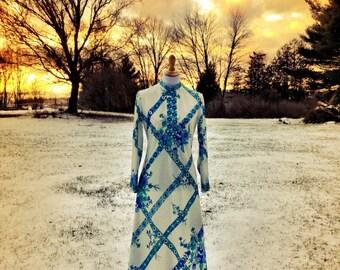 Vintage Boho Dress/ Vintage Hippie Dress/ 1970s Maxi Dress/ Vintage Maxi Dress/ Bohemian Dress/ Luigi of Naples Dress