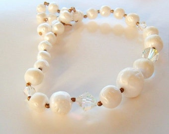 Vintage white Plastic with clear crystal beads bridal prom every day necklace