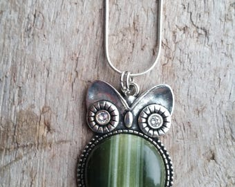 Beautiful Serpentine Stone Bellied Owl Necklace