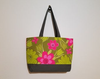 Tote Bag /  Upcycled / Dk. Green / Pink / Floral / Gray