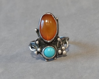 Antique Turquoise Amber Ring Sterling Silver Arts & Crafts Hand Made Heirloom Vintage Jewelry Size 6.5 Unique Markings EM G 800
