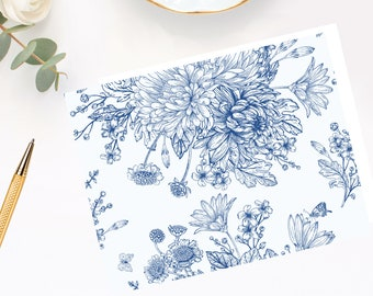 Blue Floral Note Cards