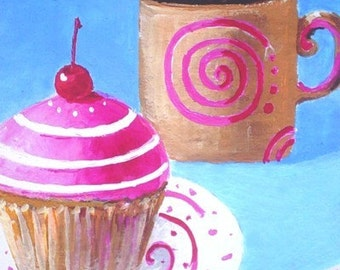 Pop Art Print * CUPCAKE With COFFEE * Wall Hanging * Small Format by Rodriguez