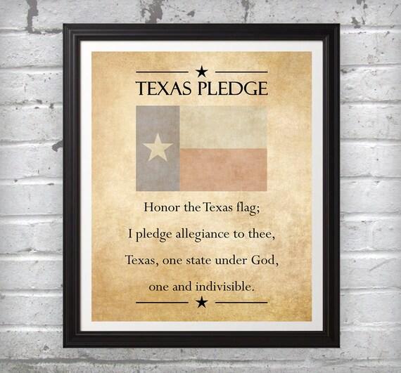Texas Pledge red white blue beige rustic wall art decor photo