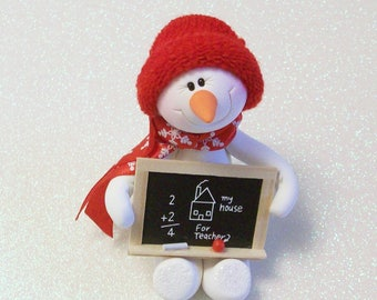 I love my teacher Snowman ornament: Miniature blackboard snowman decoration