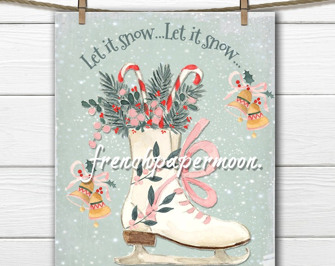 Christmas Printable, Let it Snow, Watercolor Ice-skate, Candy Canes, Christmas Party, Christmas Decor