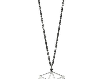Tesseract Sacred Geometry Silver Necklace for Men or Women
