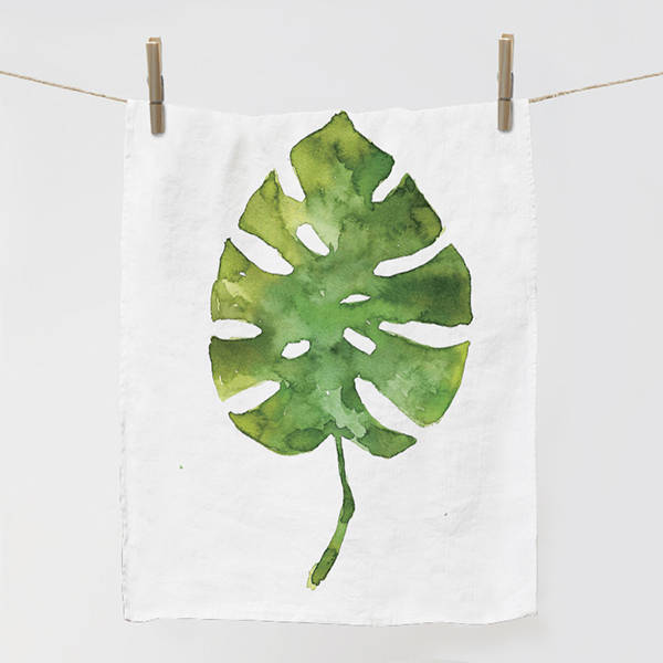 Linen kitchen towel with ,,Monstera leaf pattern - Tea towel - Gifts