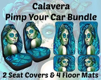 Calavera Design #2 (Turquoise) Pimp Your Car Bundle - 2 Car Seat Covers AND 1 Car Floor Mats Set  (2 x Front, 2 x Back - SAVE 10 BUCKS!