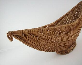 Mid Century Modern Rattan Half Moon Basket