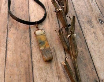 Leather cord necklace for man  rustic necklace tribal jewelry stone pendant necklace gift for man masculine jewelry