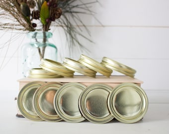 Mason Jar Lids - Crafter Mason Jar Bands with Lids Gold Color Standard Mouth Mason Jar Lids Mason Jar Crafts Mason Jar Accessories