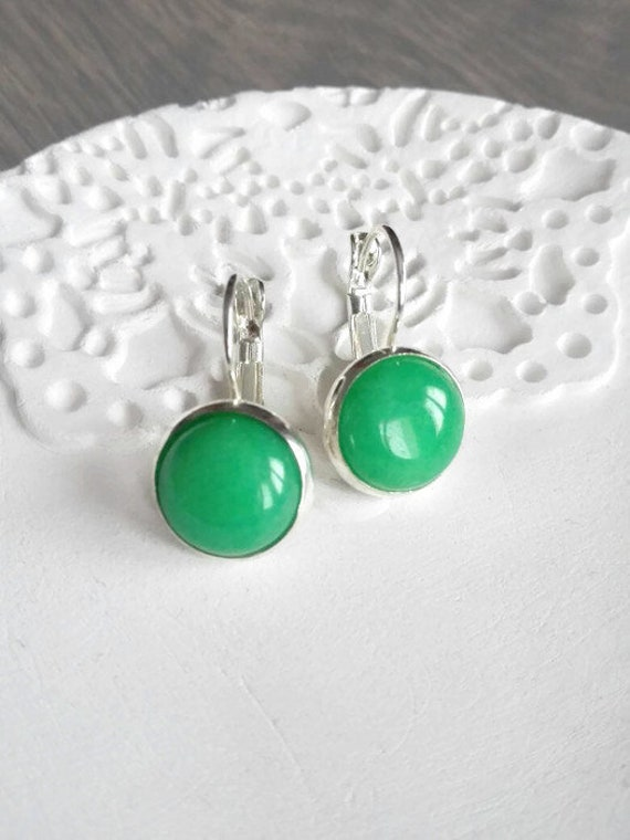 Jade earrings sterling silver green dangle drop earrings Round wedding earrings gemstone earrings Bridesmaid gift Round earrings lever back