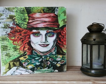 Quirky Weird Mad Hatter Johnny Depp,  Alice in Wonderland Canvas, Wall decor, adult gift - Nursery Decor -  Dining Room, Housewarming.