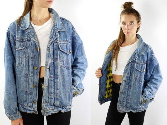 Vintage Denim Jacket Vintage Jean Jacket Blue Denim Jacket Padded Denim Jacket Lined Jean Jacket Grunge Denim Jacket Oversize Jean Jacket