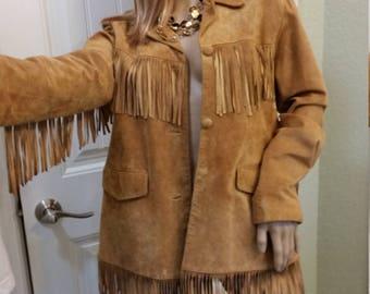 Vintage leather suede fringe Jacket large Southwest Biker Gypsy Festival