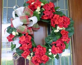 Red Geranium Wreath - Summer wreaths - Mothers day gift - door wreath - Front door decor - burlap bow - Home decor - porch decoration