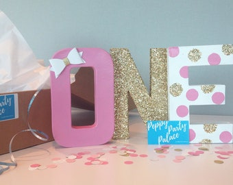 pink and gold letters, first birthday, centerpiece, ONE- 3D Letters, glitter letters, paper mache letters